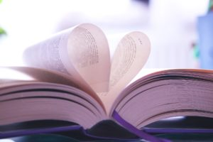 Image of Book with 2 pages folded over into the shape of a heart